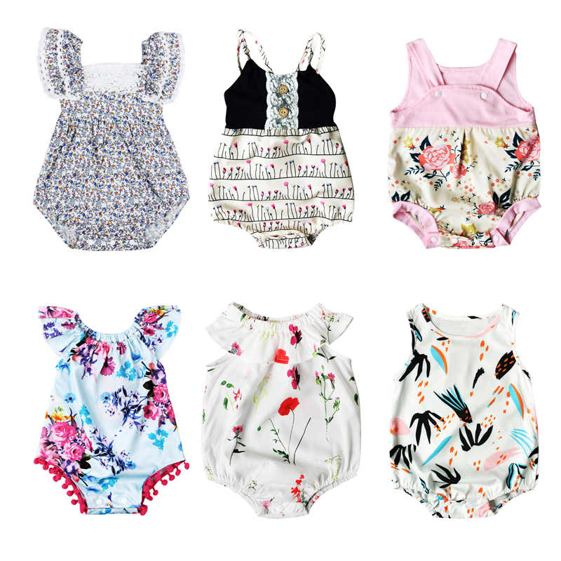 9638bd88528 2017 Summer Newborn Baby Girls Clothes Floral Romper Sleeveless Infant Bebes  Toddler Kids Jumpsuit Sunsuit Outfits