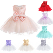 Hot Sales 0M-12M Newborns TUTU Infant Dresses 2019 New Arrival Pink Baby Dress For 1 Year Girl Birthday Toddler Christening Gown