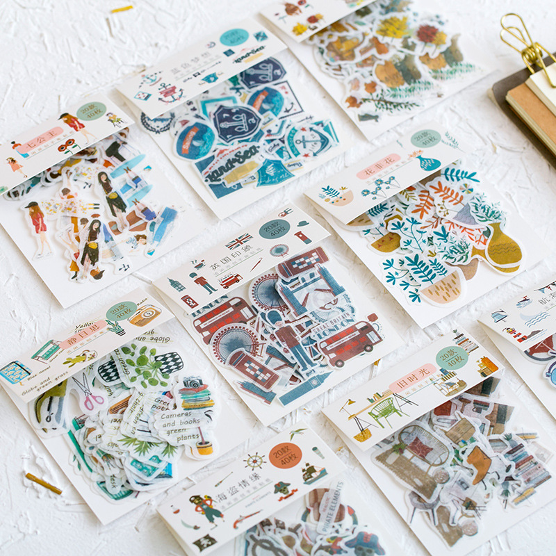 Mohamm Label Journal Diary Kawaii Small Paper Travel Gift Decorative Japanese Fall Cute Stickers Scrapbooking Flakes