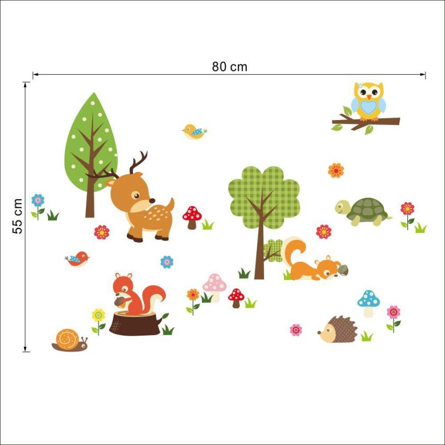 Wallpaper Sticker Forest Animals Owl Childrens Room Bedroom Background Wall Sticker Wallpapers For Living Room B#