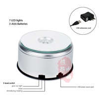 Fashion 7 LED Fading Color Light Base Show Crystal Rotating Base Stand Display For Glass Cube