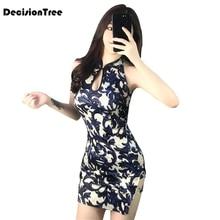 Короткое Сексуальное Женское традиционное китайское платье Ципао без рукавов, платья в восточном стиле, сексуальное Клубное платье Ципао