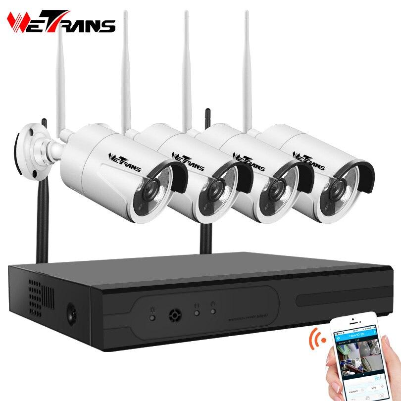 Wetrans CCTV Système de Caméra Sans Fil HD 4CH 1080 p NVR Wifi Caméra Kit Vidéo Surveillance Maison Intelligente de Sécurité IP Cam ensemble En Plein Air