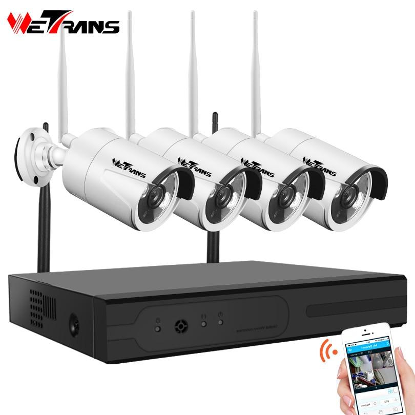 Wetrans CCTV камера системы беспроводной HD 4CH 1080 P NVR Wi Fi комплект товары теле и видеонаблюдения умный дом ip-камера слежения открытый