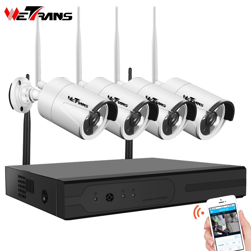 Wetrans CCTV Camera System Wireless HD 4CH 1080P NVR Wifi Camera Kit Video Surveillance Smart Home Security IP Cam Set Outdoor