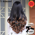 "28"" 280g Synthetic Hair Half Wigs 3/4 Wig Ombre Cheap Fake Hair Wig Celebrity Two Tone Long wavy False Hair Heat Resistant afro"