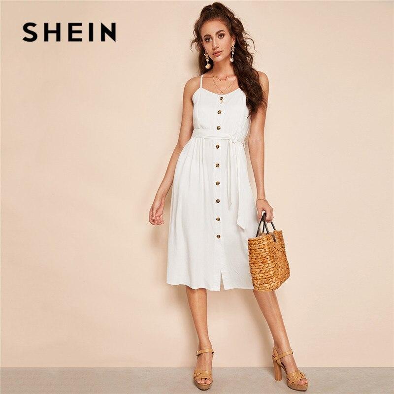 Шеин Boho на пуговицах Твердые Cami поясом летнее платье Для женщин пикантные пляжный отдых без рукавов на бретельках платье миди