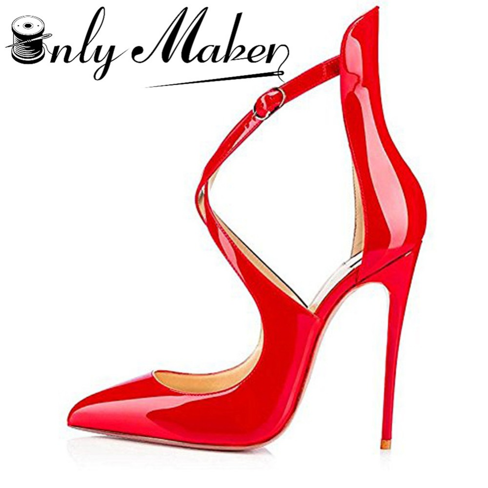 Onlymaker Women's Pumps Pointed Toe Sandals Shoes Cross Strap 12cm Thin High Heels Summer Stilettos Red Shoes Plus Size 14 dunlop winter maxx wm01 195 50 r15 t