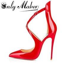 Onlymaker Женские туфли-лодочки острый носок Босоножки крест ремешок 12 см высокий тонкий каблук летние туфли на шпильке красные туфли плюс Размер 14