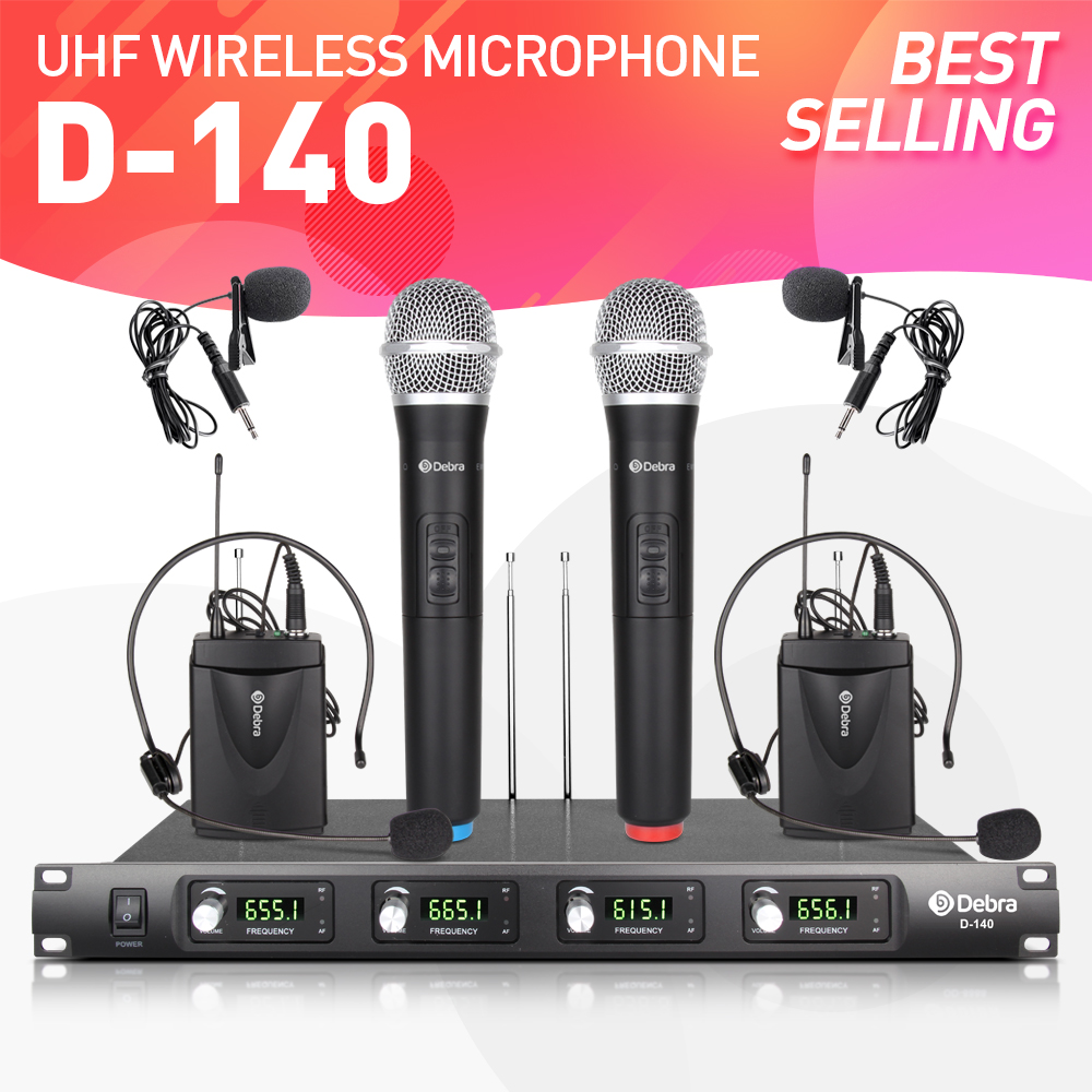 Top quality!!! Debra Audio D 140 4 Channel with 2 Handheld and 2 Lavalier & 2 Headset Mic UHF Wireless Microphone System