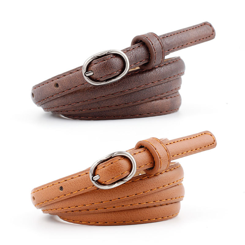 2019 Candy Color PU Leather Thin   Belt   for Women Metal Buckle Narrow   Belts   Female Straps Waistband Fashion Apparel Accessories
