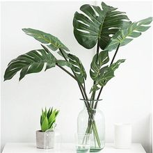10 adet/paket L/M/S yüksek simülasyon yapay Monstera tropikal bitki yaprak ev partisi ofis mağaza süslemeleri
