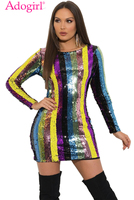 Adogirl Colorful Stripe Sequins Backless Bodycon Club Dress O Neck Long Sleeve Sheath Mini Evening Party Dress Female Outfits
