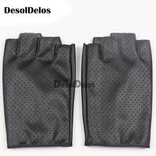 Fashion Women Fingerless Gloves Breathable Soft Leather Gloves for Dance Party Show Women Black Half Finger Mittens недорого