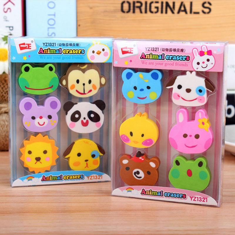 Купить с кэшбэком 6 pcs /lot lovely animals mini rubber eraser school creative stationery  papelaria child's gift students supplies Free shipping