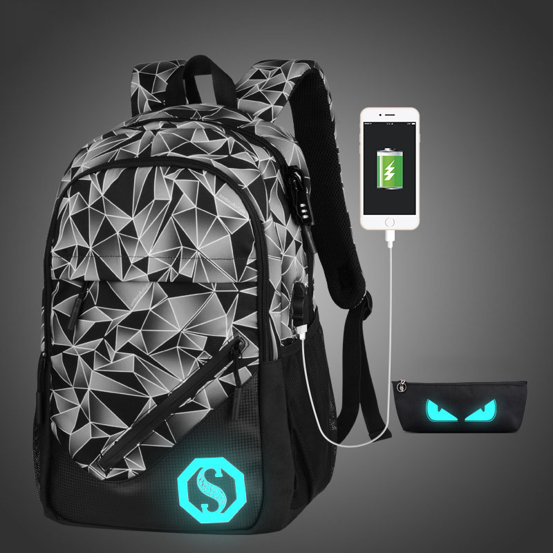 Luminous School Bag For Teenagers Geometry USB Charge Anti theft Luxury Men Backpack Bags Laptop Casual Male Batoh Rucksack Boy