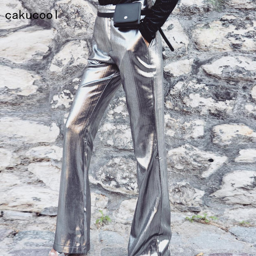 Cakucool Women New Flare   Pants   High Waist Work Wear Casual Boot Cut   Pant   Trousers Shiny Sliver Stamping   Capris   Spring Autmn 2019