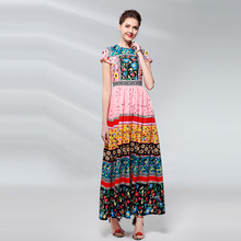 High Quality 2019 Womens Spring Summer New Fashion Amazing Floral Mosaic High-end Printing Waist Short-sleeved Beach Dress