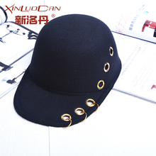 Vintage Womens Ring Equestrian Brim Black Wool Hat Winter Felt Hats Feminina Fedora Female Floppy Caps 2017 New Arrival  WH037
