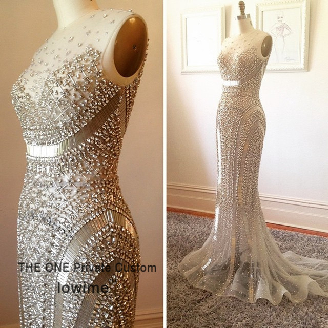 Vestidos 2016 Rhinestone Great Gatsby Evening Gowns Abendkleider Silver Beaded Formal Dress Luxury Mermaid Prom