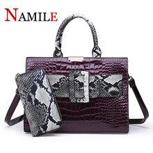 NAMILE Ms. Snakeskin Crocodile Portable Case Set of 3 Quality Ladies Handbags Large Capacity Womens Shoulder Bag Messenger