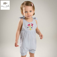 DB4321 Dave Bella Summer New Born Baby Cotton Blue Stripe Romper Infant Clothes Girls Romper Baby