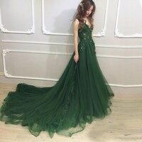 Candy Color emerald green plus size wedding dresses a line V Neck vestido invitada boda Long Robe De Soiree 2018 Custom Made