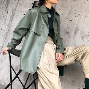 Image 5 - [DEAT] 2020 New Spring Autumn Lapel Long Sleeve Pocket Belt Bandage Loose Personality Leather Jacket Women Coat Tide 10D374