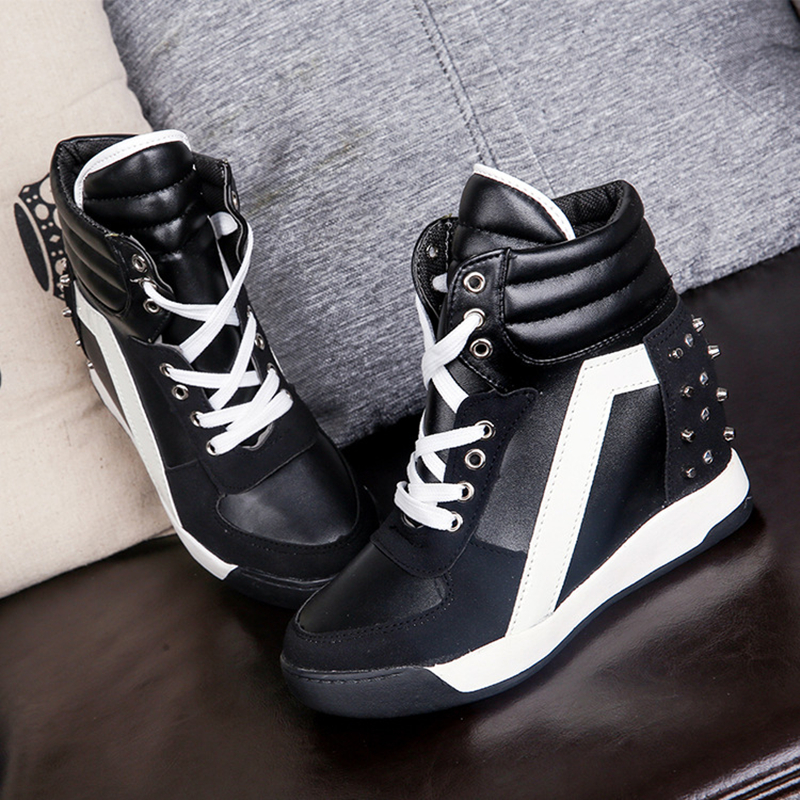 Women Casual Shoes Height Increasing Platform Flats Women Shoes 2018 Fashion Sneakers Wedges Black White Rivets Shoes Zapatillas hee grand fashion height increasing women shoes zip white black women casual pumps wedges shoes drop shipping xwc471