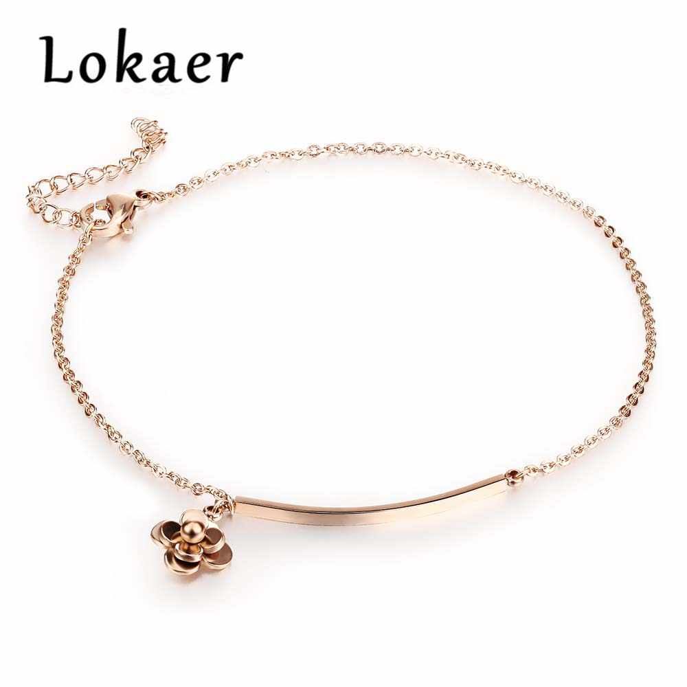 Lokaer Trendy Camellia Long Square Anklet Classic Rose Gold Color Stainless Steel Women Ankle Bracelet Link Chain Jewelry LGZ017