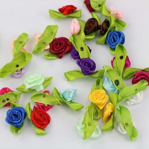Image 2 - 100pcs Handmade Mini Satin Flowers For Garment Accessories Artificial Ribbon Rose flower DIY Wedding Scrapbook Cards Ornament