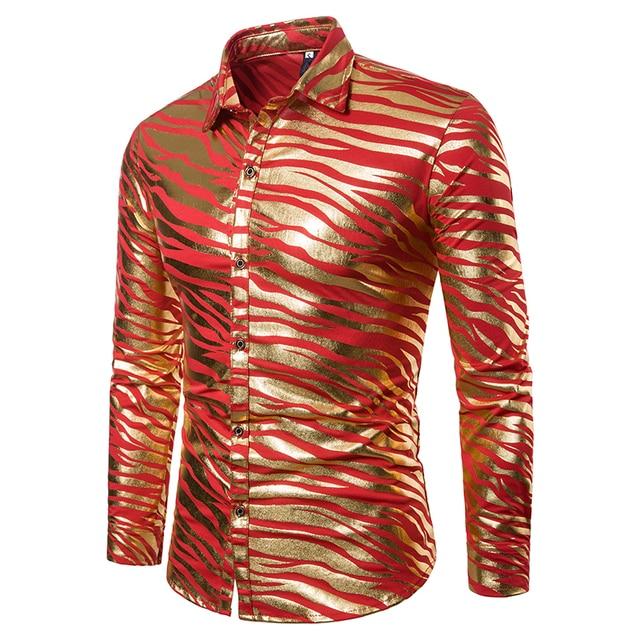 Men Zebra Striped Print Long Sleeve Shirt
