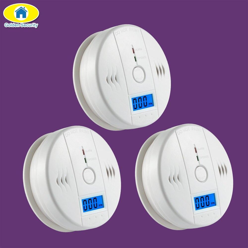 Golden Security 3 Pz LCD Indipendente Sensore di Gas CO Monossido di Carbonio Avvelenamento Allarme Senza Fili Fotoelettrico Rivelatore CO per la Casa