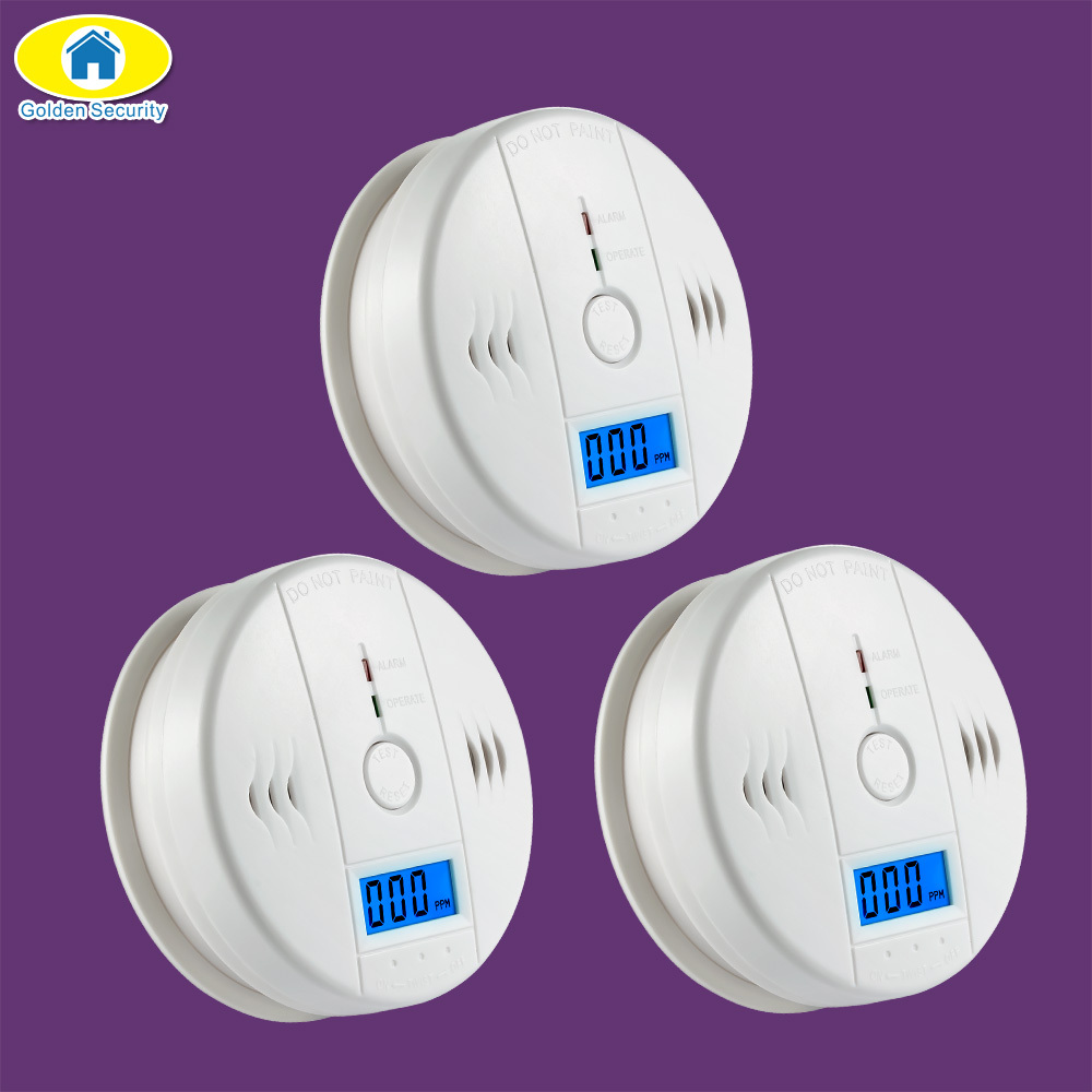 Goldene Sicherheit 3 stücke LCD Photoelektrische Unabhängige CO Gas Sensor Kohlenmonoxid-vergiftung Alarm Drahtlose CO Detektor für Home