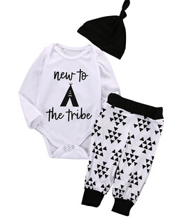ביגוד לתינוק יילוד תינוקת בגדים פרחוניים סרבל Romper + שחור עלה סרט מכנסיים תלבושת
