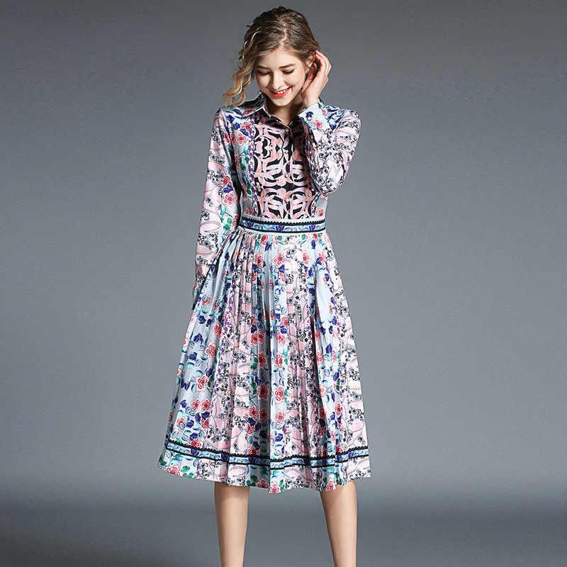 Осеннее платье с длинными рукавами и принтом в стиле ретро, женские дизайнерские платья для подиума, 2019 высокое качество, праздничное платье Lange Jurken K5310