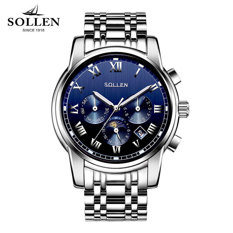 Relogio Masculino SOLLEN Multifunction automatic mechanical watch men waterproof steel moon phase Luminous male wristwatches