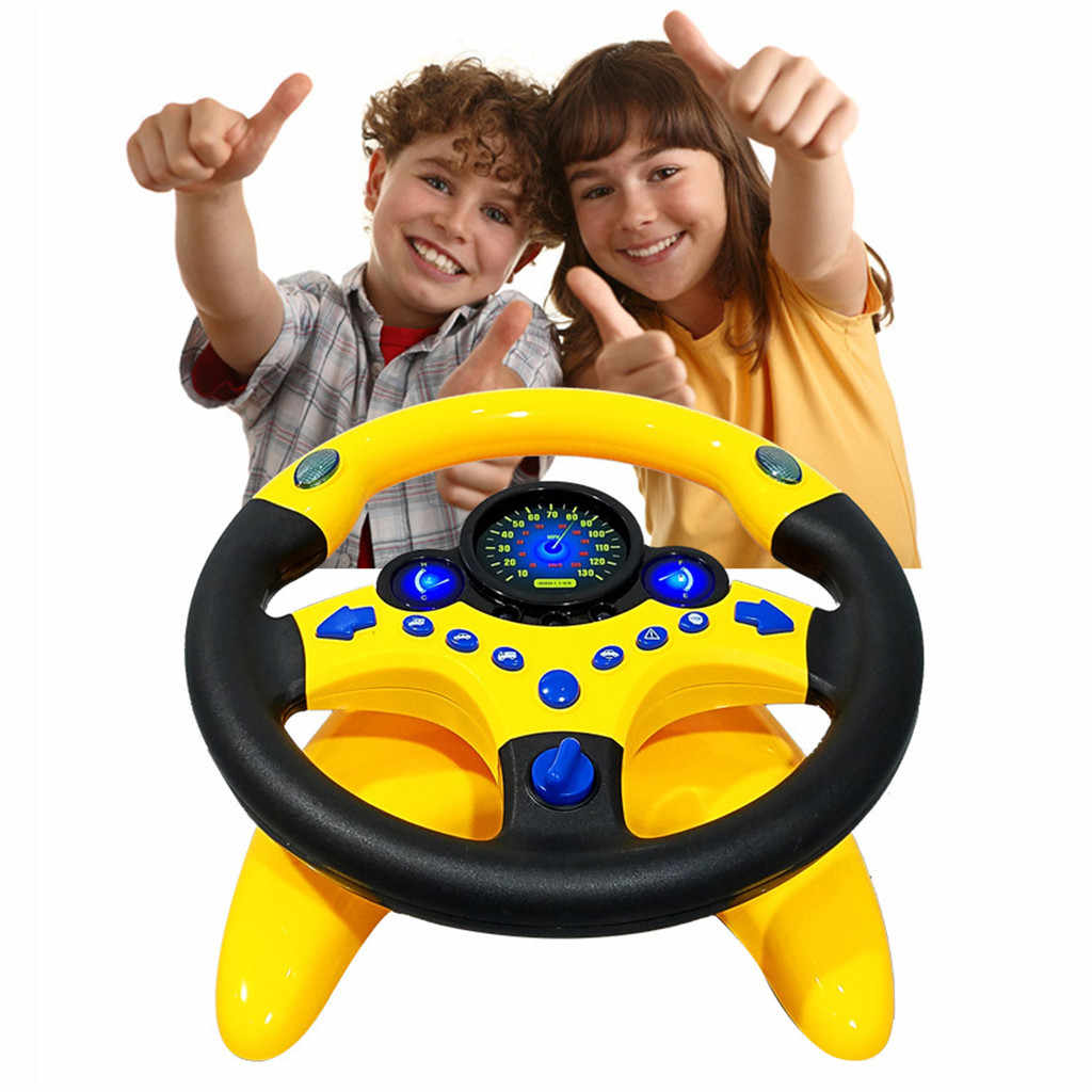 Simulated Steering Wheel Kid Copilot Simulated Steering Wheel Racing Driver Toy Educational Sounding Car Interior Accessories