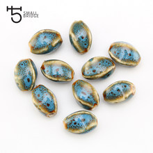 15mm 10pcs Flower Glaze Ceramic Porcelain Beads Jewelry Accessories Diy Bracelet Wholesale Beads For Jewelry Making T101(China)