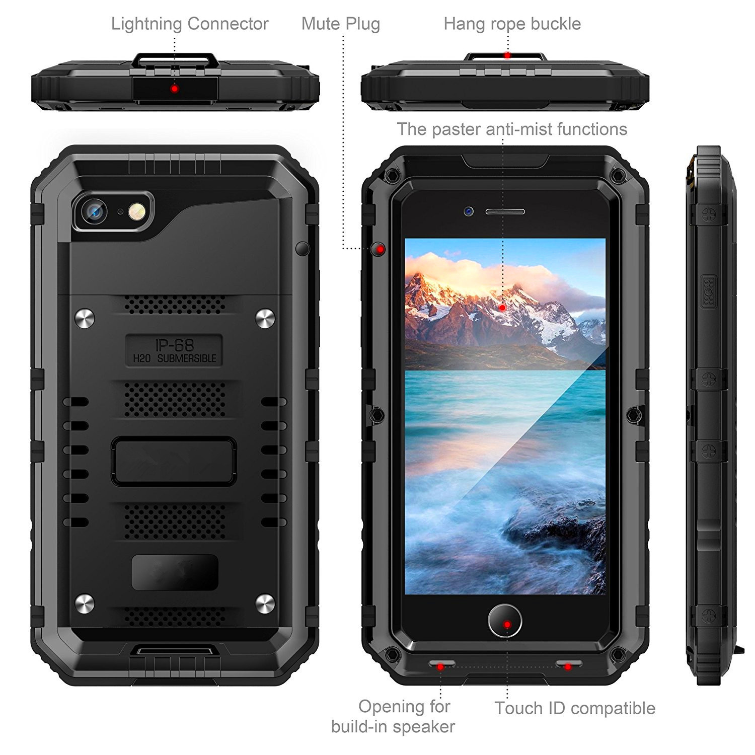 Shockproof Heavy Duty Hybrid Tough Rugged Armor Metal Case for iPhone X 6 6s 7 8 Plus 5 5s SE Waterproof IP68 Phone Cover Coque