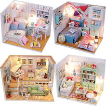 DIY Doll House Miniature Dollhouse Casa Toys With Furnitures House For Doll Handmade Model Assembled Toys For Children Gift #E diy miniature doll house casa toys dollhouse wooden model with 3d led furnitures house for dolls handmade toys for children e