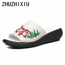 ZUZHIXIU-Hot selling,2019 summer new national style, genuine leather embroidered, thick bottomed cowhide lady leather slippers