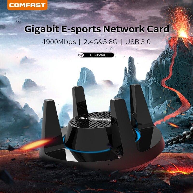 Adaptateur Wifi PA haute puissance 1900 Mbps Gigabit e-sports carte réseau 2.4 Ghz + 5.8 Ghz USB 3.0 PC récepteur de Dongle Lan avec 4 antennes