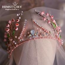 Handmade Pink Flower Rose Gold Crown Tiara Rhinstone Crystal Peal Princess Headbands Wedding Hair Accessories Jewelry