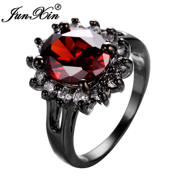 JUNXIN Red Jewelry Flower Style Punk  Black Gold Filled Red Cubic Zircon Ring Women Men Party Wedding New Year Gift