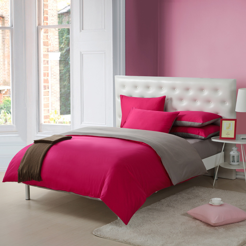 Marvelous Plain Double Color Block Decoration Piece Set Hotel Bed Sheet Duvet Cover  Cotton 100% Cotton Satin Plain Solid Color Bed Four In Bedding Sets From  Home ...