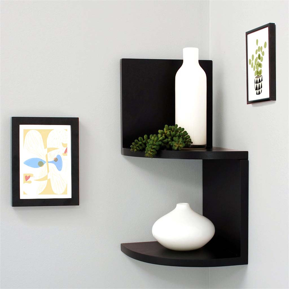 Finether 2 tier zig zag floating wall corner shelf unit Wall mounted bookcase shelves