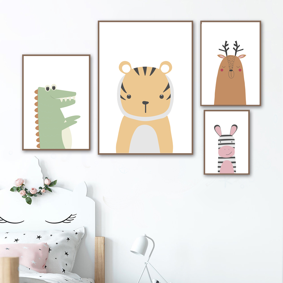 Tiger Bear Rabbit Hippo Alpaca Dinosaur Wall Art Canvas Painting Nordic Posters And Prints Animal Wall Pictures Kids Room Decor in Painting Calligraphy from Home Garden