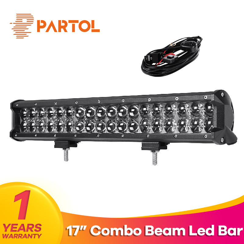 Partol 17 inch 180W 4D LED Light Bar Work Light Pod Combo Beam Car ATV SUV Auto Truck LED Bar 4X4 Offroad Driving Lamp 12V 6000K 7 inch 60w 6d led light bar lamp offroad waterproof 6000k universal work bulbs