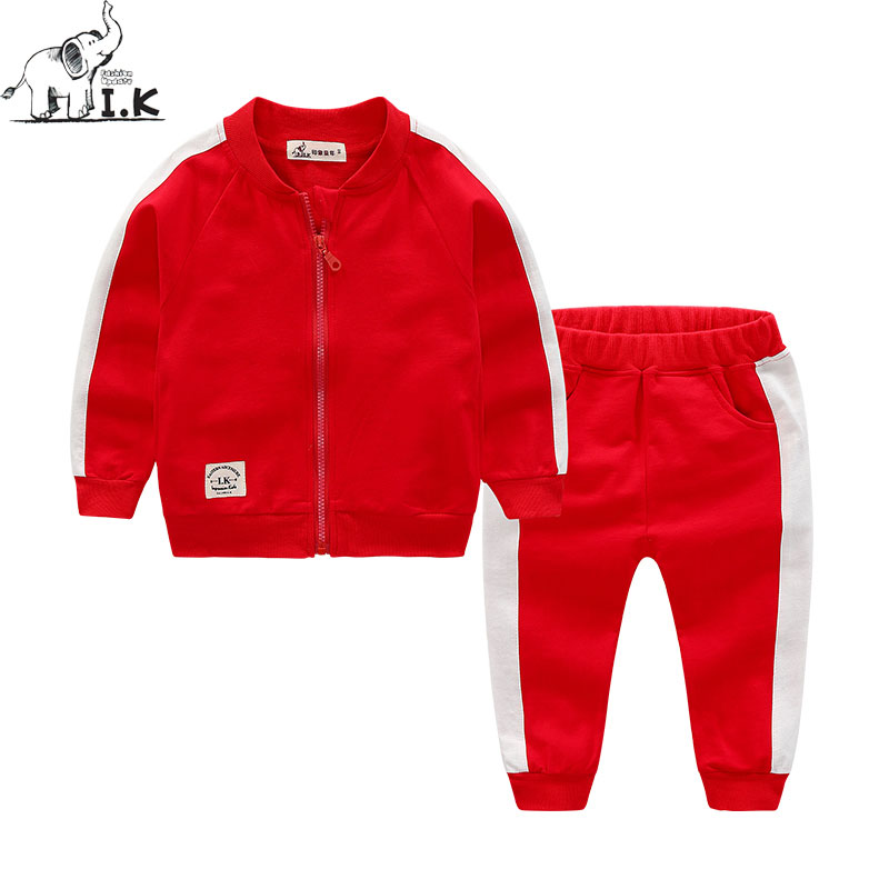 I.K Boys Sports Suits Three Color Two Piece Set Cotton 2017 Fashion Tracksuits Children Baby Girls Clothing Spring Autumn AS1009 spring newborn suits new fashion baby boys girls brand suits children sports jacket pants 2pcs sets children tracksuits